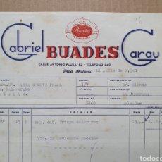 Factures anciennes: GABROEL BUADES GARAU. INCA. MALLORCA. CALZADOS BUADES. FACTURA 1961.. Lote 258162345