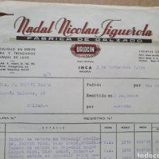 Factures anciennes: NADAL NICOLAU FIGUEROLA. FABRICA DE CALZADO. VALOCIN. INCA. MALLORCA. FACTURA 1954.. Lote 258174375