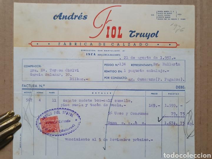 ANDRES FIOL TRUYOL. FABRICA DE CALZADO. INCA. MALLORCA. BALEARES. FACTURA 1957. (Coleccionismo - Documentos - Facturas Antiguas)