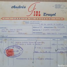 Factures anciennes: ANDRES FIOL TRUYOL. FABRICA DE CALZADO. INCA. MALLORCA. BALEARES. FACTURA 1957.. Lote 258175470