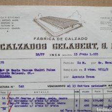 Faturas antigas: CALZADOS GELABERT. FABRICA DE CALZADO. INCA. MALLORCA. FACTURA 1955.. Lote 258762785