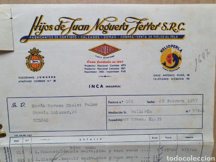 HIJOS DE JUAN NOGUERA FERRER. INCA. MALLORCA. FACTURA 1957. CURTIDOS, CALZADO, (Coleccionismo - Documentos - Facturas Antiguas)