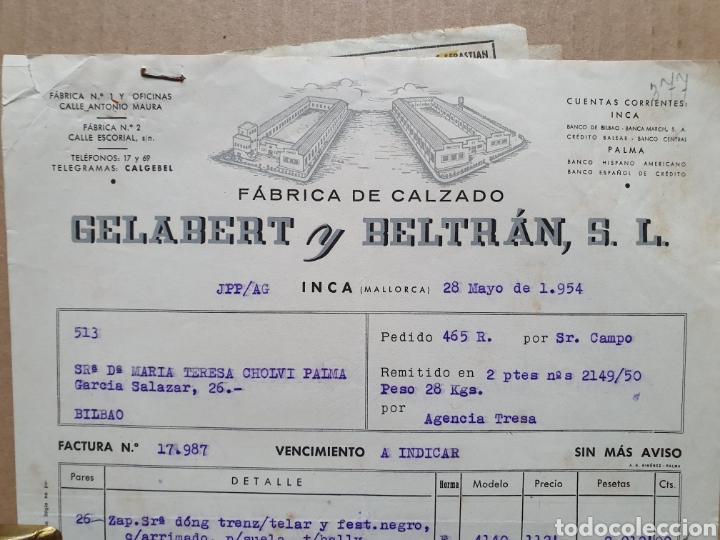 FABRICA DE CALZADO. GELABERT Y BELTRAN. INCA. MALLORCA. FACTURA 1954. (Coleccionismo - Documentos - Facturas Antiguas)