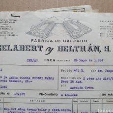 Faturas antigas: FABRICA DE CALZADO. GELABERT Y BELTRAN. INCA. MALLORCA. FACTURA 1954.. Lote 258769705