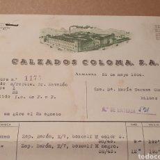 Factures anciennes: CALZADOS COLOMA. ALMANSA. FACTURA 1954.. Lote 259334240