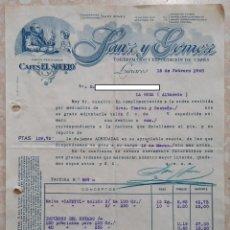 Faturas antigas: FACTURA TORREFACCION Y EXPORTACION DE CAFES SANZ Y GÓMEZ. LINARES, JAÉN 1940. Lote 260076005