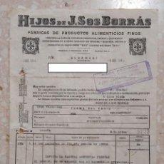 Facturas antiguas: FACTURA HIJOS J SOS BORRAS ALGEMESI 1940 SELLO SERVICIOS PROVINCIALES DE ABATECIMIENTOS TRANSPORTES. Lote 260076425