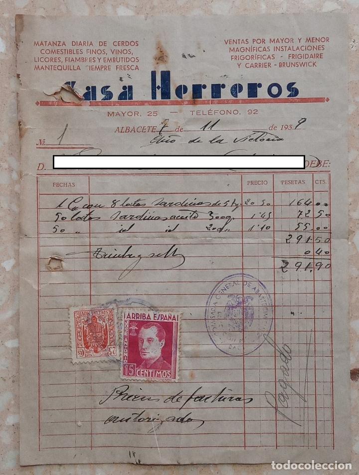 FACTURA COMESTIBLES CASA HERREROS. ALBACETE 1939 (Coleccionismo - Documentos - Facturas Antiguas)