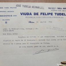 Faturas antigas: VIUDA DE FELIPE TUDELA. MADERAS, BALNEARIO. ENVASES PARA FRUTAS. ALCIRA. FACTURA 1942.. Lote 260352380