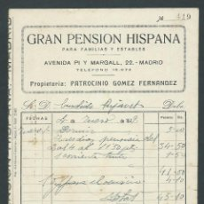 Facturas antiguas: ANTIGUA FACTURA GRAN PENSION HISPANA AÑO 1929 MADRID. Lote 260387875