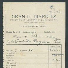 Facturas antiguas: ANTIGUA FACTURA GRAN HOTEL BIARRITZ AÑO 1929 MADRID. Lote 260388280
