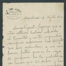 Facturas antiguas: ANTIGUA CARTA MEDICO G. TOME ALONSO AÑO 1936 FIRMADA. Lote 260389630