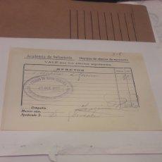 Fatture antiche: ACADEMIA DE INFANTERIA-SELLO COLEGIO DE MARIA CRISTINA 1922- FACTURA. Lote 260591820