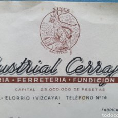 Facturas antiguas: LA INDUSTRIAL CERRAJERA. FABRICA DE CERRAJERIA. MARCA LINCE. ELORRIO, VIZCAYA. FACTURA 1955.. Lote 261924735