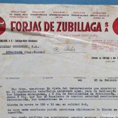 Factures anciennes: FORJAS DE ZUBILLAGA. OÑATE. FACTURA 1954.. Lote 261926485