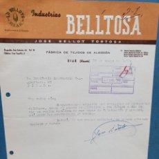 Facturas antiguas: INDUSTRIAS BELLTOSA. FABRICA TEJIDOS ALGODON. BIAR, ALICANTE. FACTURA 1960.. Lote 261929260