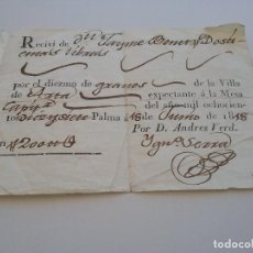 Facturas antiguas: RECIVI. POR DIEZMO DE GRANOS..18 JUNIO 1818 (434). Lote 261930585