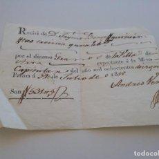 Facturas antiguas: RECIVI. POR DIEZMO DE GRANOS..31 JULIO 1818 (434-1). Lote 261930910