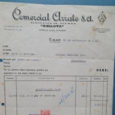 Facturas antiguas: COMERCIAL ARRATE. BELLOTA. EIBAR. FACTURA 1952.. Lote 261984830