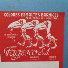 Facturas antiguas: FAGESCO. COLORES ESMALTES, BARNICES. FACTURA 1953.. Lote 261985175