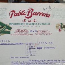 Facturas antiguas: PABLO BARRERA. BILBAO. IMPORTADORES DE ACERO. UDDELHOLMS, AKTIEBOLAG. SUECIA. FACTURA 1950.. Lote 261986195