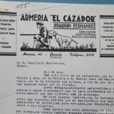 Facturas antiguas: ARMERIA EL CAZADOR. JOAQUIN FERNANDEZ. GRANADA. FACTURA 1946.. Lote 261989120