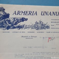 Facturas antiguas: ARMERIA UNANUE. HOSPITALET DE LLOBREGAT. FACTURA 1955.. Lote 261989745