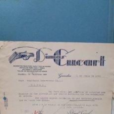 Facturas antiguas: DIMAS CUCART. GANDIA. ARMERIA, FACTURA 1955.. Lote 261990170
