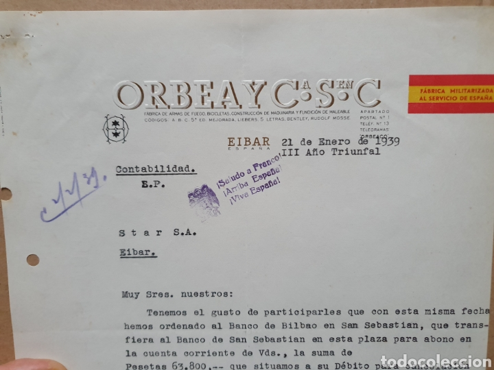 ORBEA Y CIA. EIBAR. FABRICA DE ARMAS, BICICLETAS. FACTURA 1939. MILITARIZA AL SERVICIO DE ESPAÑA. (Coleccionismo - Documentos - Facturas Antiguas)