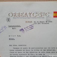 Factures anciennes: ORBEA Y CIA. EIBAR. FABRICA DE ARMAS, BICICLETAS. FACTURA 1939. MILITARIZA AL SERVICIO DE ESPAÑA.. Lote 262114630