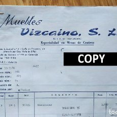 Facturas antiguas: FACTURA CON 4 DOCUMENTOS. MUEBLES VIZCAINO. ALBAL. VALENCIA, 1979. SELLOS TASAS. Lote 262142645