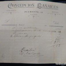 Facturas antiguas: CONCEPCIÓN BAÑARES PIAMONTE 15 MADRID.. Lote 262180630