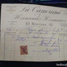 Facturas antiguas: LA CAMERA A. HERNÁNDEZ HERMANOS. ESPECIALIDAD EN CAMISERÍA MADRID.. Lote 262180845