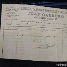 Facturas antiguas: ABANICOS, PARAGUAS, SOMBRILLAS Y BASTONES JUAN CARRERO MADRID.. Lote 262181190