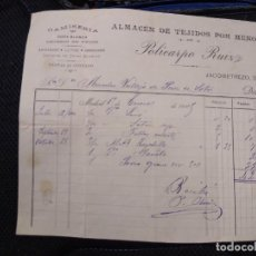 Facturas antiguas: CAMISERÍA ALMACÉN DE TEJIDOS POR MENOR. POLICARDO RUIZ. MADRID.. Lote 262182780