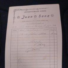 Facturas antiguas: COMESTIBLES FINOS DE JUAN SANZ. MADRID.. Lote 262182905