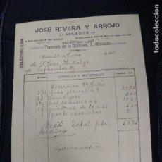 Facturas antiguas: JOSÉ RIVERA Y ARROJO. SOLDADOR. MADRID.. Lote 262183090