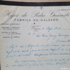 Factures anciennes: HIJOS DE PEDRO GUARESTI. FABRICA DE CALZADO. ORDUÑA. FACTURA 1939.. Lote 262277515