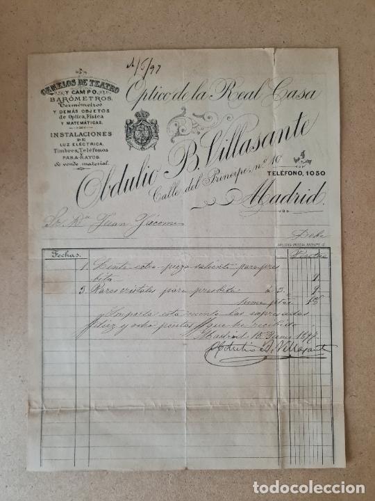 MADRID. OPTICO DE LA REAL CASA OBDULIO B.VILLASANTE. GEMELOS DE TEATRO Y CAMPO, BAROMETROS. 1890 (Coleccionismo - Documentos - Facturas Antiguas)