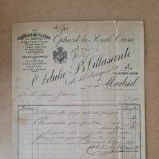 Factures anciennes: MADRID. OPTICO DE LA REAL CASA OBDULIO B.VILLASANTE. GEMELOS DE TEATRO Y CAMPO, BAROMETROS. 1890. Lote 262282530