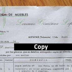 Facturas antiguas: FACTURA CON 5 DOCUMENTOS. FÁBRICA DE MUEBLES. ALFAFAR. VALENCIA, 1977. SELLOS TASAS. Lote 262322155