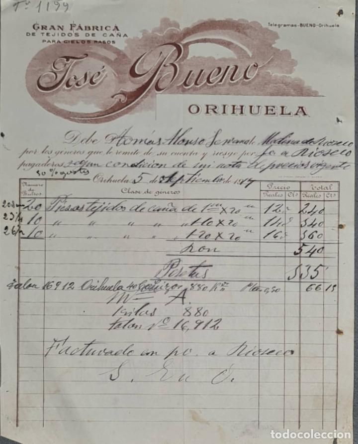 FACTURA. JOSÉ BUENO. GRAN FÁBRICA DE TEJIDOS DE CAÑA. ORIHUELA. ESPAÑA 1917 (Coleccionismo - Documentos - Facturas Antiguas)