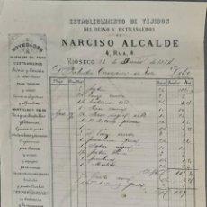 Facturas antiguas: FACTURA. NARCISO ALCALDE. ESTABLECIMIENTO DE TEJIDOS. RÍOSECO. ESPAÑA 1884. Lote 262327255