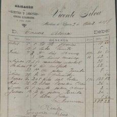 Facturas antiguas: FACTURA. VICENTE SILVA. ALMACÉN DE ACEITES Y JABONES. MEDINA DE RÍOSECO. ESPAÑA 1907. Lote 262327305