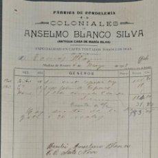 Facturas antiguas: FACTURA. ANSELMO BLANCO SILVA. FÁBRICA DE CORDELERÍA Y COLONIALES. MEDINA DE RÍOSECO. ESPAÑA 1907. Lote 262327360