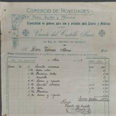 Facturas antiguas: FACTURA. VICENTE DEL CASTILLO PACIO. COMERCIO DE NOVEDADES. MEDINA DE RÍOSECO. ESPAÑA 1907. Lote 262327485