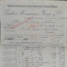 Facturas antiguas: FACTURA. GARTEIZ HERMANOS, YERMO Y CÍA. INGENIEROS. VALLADOLID. ESPAÑA 1908. Lote 262327540