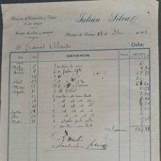 Facturas antiguas: FACTURA. JULIÁN SILVA. ALMACÉN DE COLONIALES Y VINOS. MEDINA DE RÍOSECO. ESPAÑA 1918. Lote 262327645