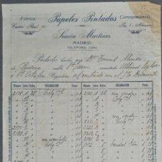 Facturas antiguas: FACTURA. SIMÓN MARTÍNEZ. PAPELES PINTADOS. MADRID. ESPAÑA 1917. Lote 262327990