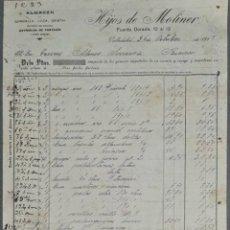 Facturas antiguas: FACTURA. HIJOS DE MOLINER. ALMACÉN QUINCALLA, LOZA Y CRISTAL. VALLADOLID. ESPAÑA 1917. Lote 262328050